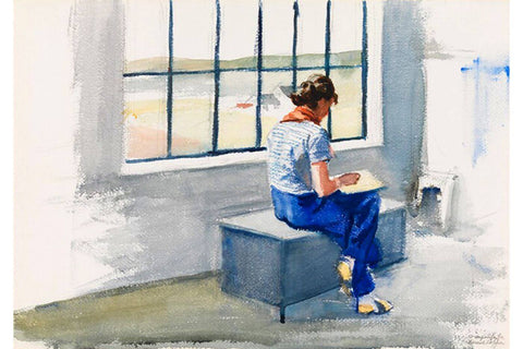 Jo Sketching in the Truro House (Watercolor) – Edward Hopper by Edward Hopper