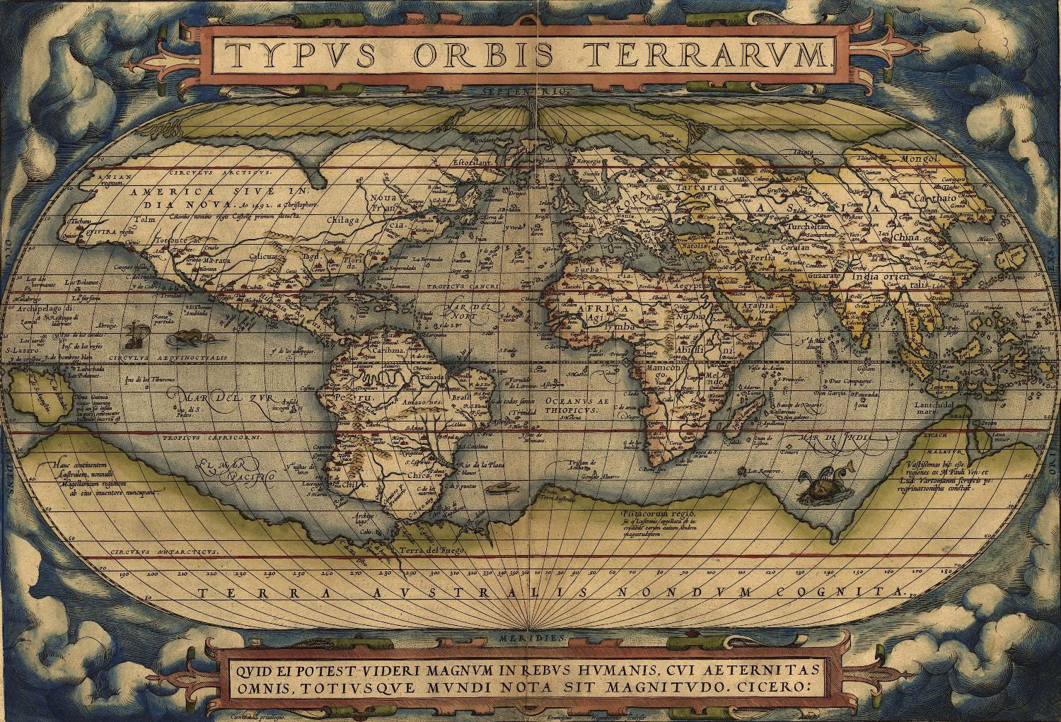 Decorative vintage world map typus orbis terrarum abraham decorative vintage world map typus orbis terrarum abraham ortelius 1570 large art gumiabroncs Image collections