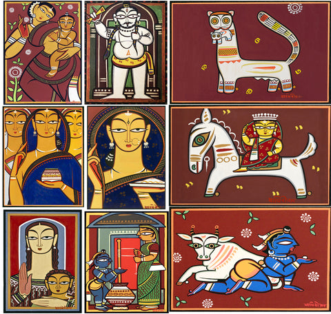 Set of 10 Best of Jamini Roy Paintings - Poster Paper (12 x 17 inches) each