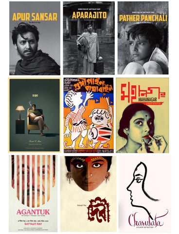 Set of 10 Best of Satyajit Ray Paintings - Poster Paper (12 x 17 inches) each