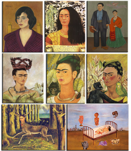 Set of 10 Best of Frida Kahlo Paintings - Poster Paper (12 x 17 inches) each by Frida Kahlo