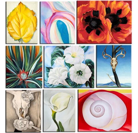 Set of 10 Best of Georgia OKeeffe Paintings - Poster Paper (12 x 17 inches) each