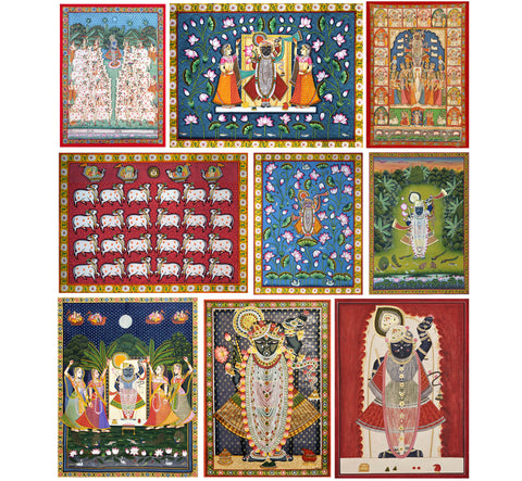 Set of 10 Best of Pichhwai  Paintings - Poster Paper (12 x 17 inches) each by Vineeta Randhawa