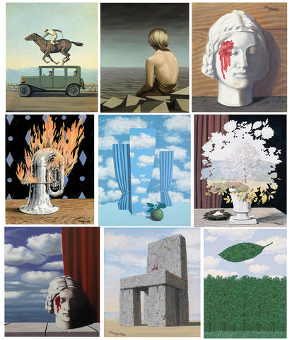 Set of 10 Best of René Magritte Paintings - Poster Paper (12 x 17 inches) each
