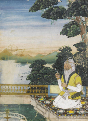 A Portrait Of Maharaja Ranjit Singh - Vintage 19th Century Indian Miniature Art Sikh Painting by Akal