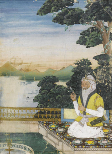 Artwork of A Portrait Of Maharaja Ranjit Singh - Vintage 19th Century Indian Miniature Art Sikh Painting by Akal