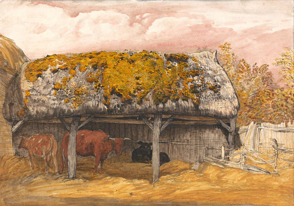 A Cow Lodge with a Mossy Roof - Framed Prints