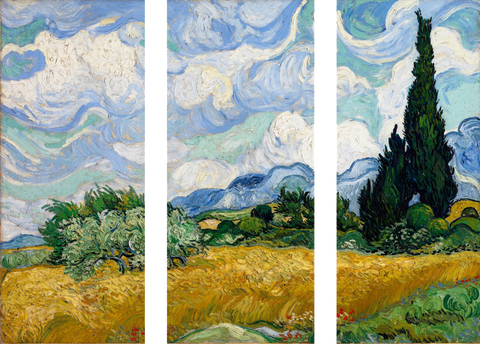 A Wheatfield With Cypresses - Art Panels