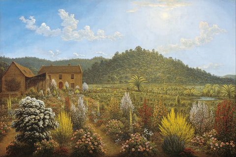 A view of the artist's house and garden, in Mills Plains, Van Diemen's - Large Art Prints