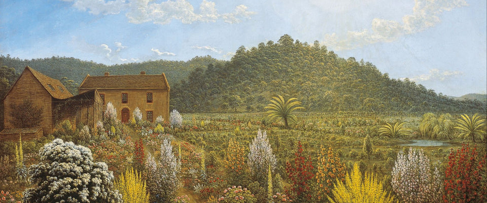 A view of the artist's house and garden, in Mills Plains, Van Diemen's by John Glover | Buy Posters, Frames, Canvas  & Digital Art Prints
