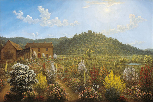 A view of the artist's house and garden, in Mills Plains, Van Diemen's - Canvas Prints