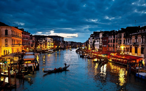 A Beautiful Night View Of Venice Grand Canal And Gondolas - Painting