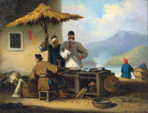 A Chinese Foodstall In Macao - George Chinnery - Vintage Orientalist Painting
