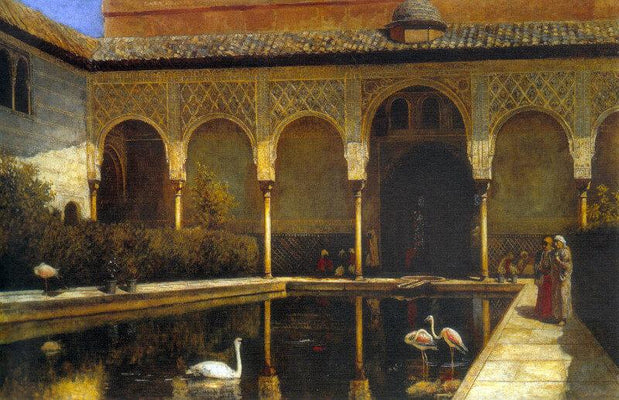 A Court In The Alhambra In The Time Of The Moors by Edwin Lord Weeks | Buy Posters, Frames, Canvas  & Digital Art Prints