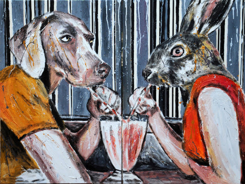 A Dog And A Rabbit Sitting In A Diner - Posters