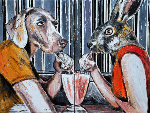 A Dog And A Rabbit Sitting In A Diner
