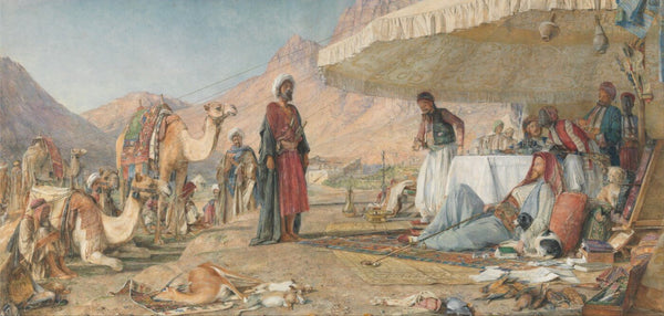 A Frank Encampment in the Desert of Mount Sinai, 1842 – The Convent of St. Catherine in the Distance - Framed Prints