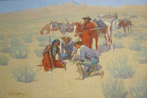 A Map in the Sand -  Frederic Remington - Posters