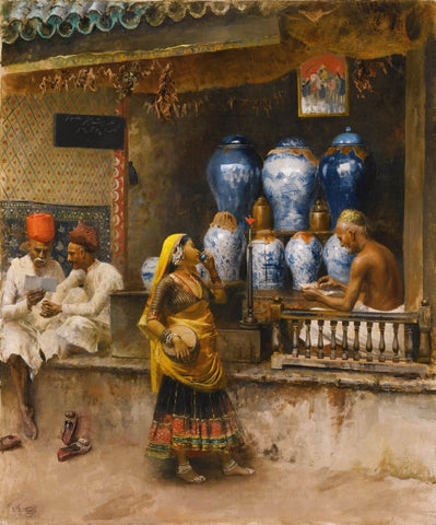 A Perfumers Shop, Bombay by Edwin Lord Weeks