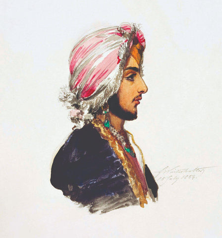 A Portrait Of Prince Duleep Singh - Franz Winter Halter - Vintage Indian Sikh Painting by Franz Winter Halter