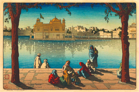 A Portrait of Golden Temple Amritsar - Charles William Bartlett - Vintage Woodblock Painting by Charles William Bartlett
