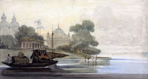 A River In Ceylon - George Chinnery - Vintage Orientalist Painting of India
