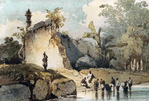 A Ruined Temple with Fallen Dome, Bengal - George Chinnery - Vintage Orientalist Painting of India