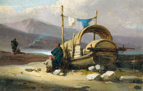 A Tanka Boat on the Shore, Macao - George Chinnery - Vintage Orientalist Painting