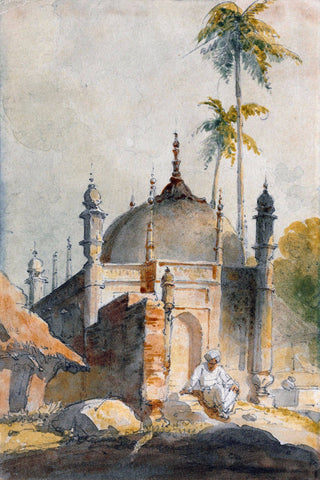 A Temple In Bengal - George Chinnery - Vintage Orientalist Painting of India