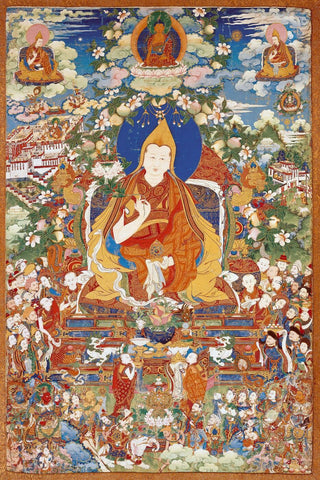 A Thangka Depicting The Eight Dalai Lama