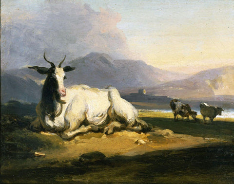 A goat sitting in a mountainous river landscape - George Chinnery - c 1815 - Vintage Orientalist Painting of India