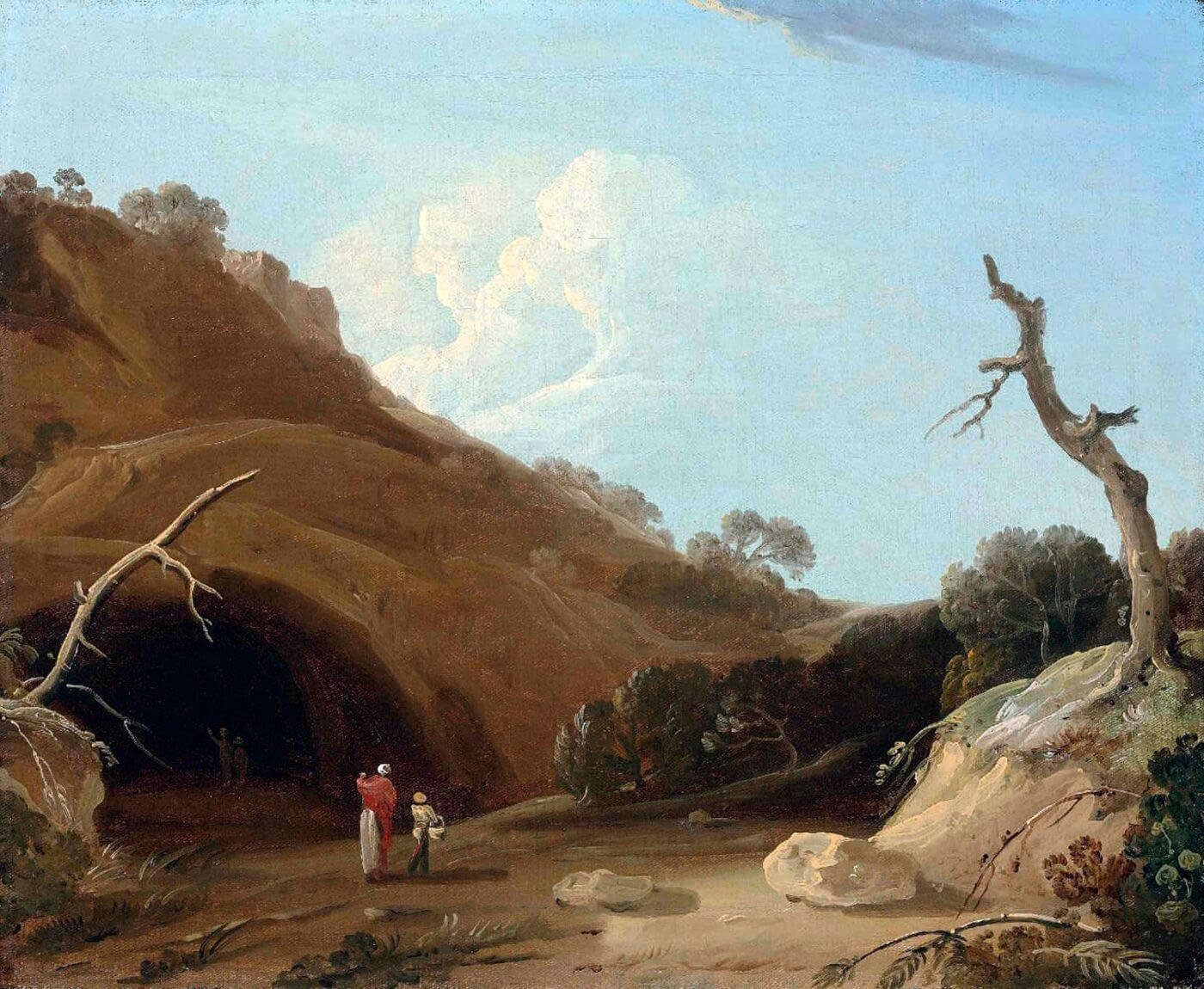 A hilly Indian landscape with figures passing by a cave - William Hodges c 1785 - Vintage Orientalist Painting of India