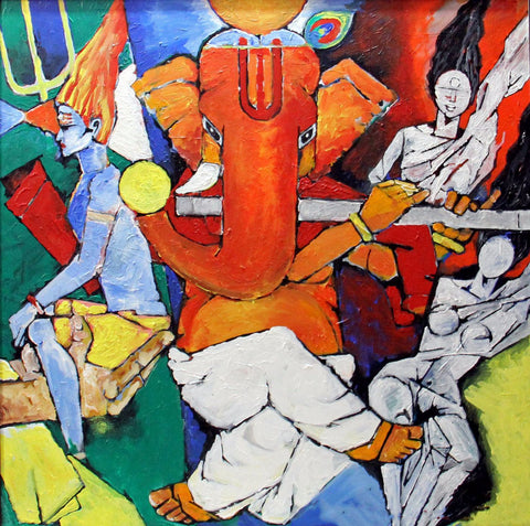 Abstract Art - Mangalmurti Ganpati Vinayak - Ganesha Painting Collection