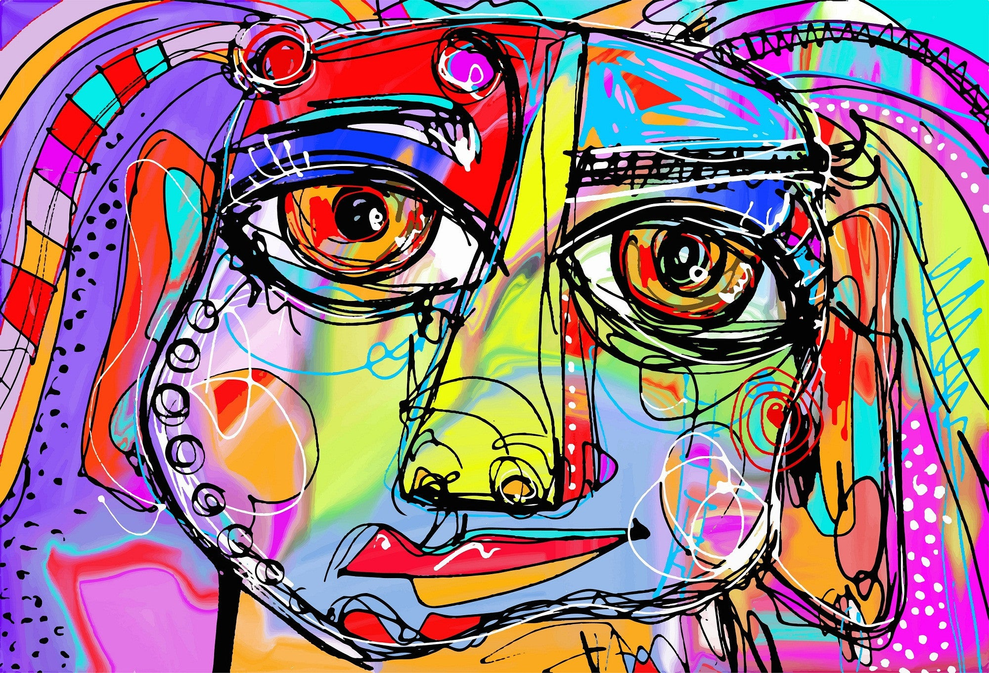 Abstract face of a girl posters