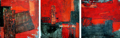 Abstract Red Oil Painting - Art Panels