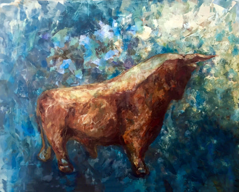 Abstract Bull - Art Inspired By The Stock Market And Investment by Christopher Noel