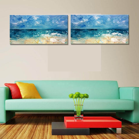 Seascape - Modern Abstract Painting - Set Of 2 Gallery Wrap (18 x 36 inches) each by Henry
