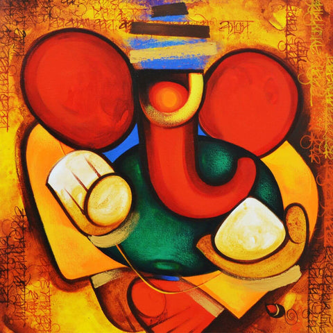 Acrylic Art - Ganesha - Ganesha Painting Collection by Raghuraman