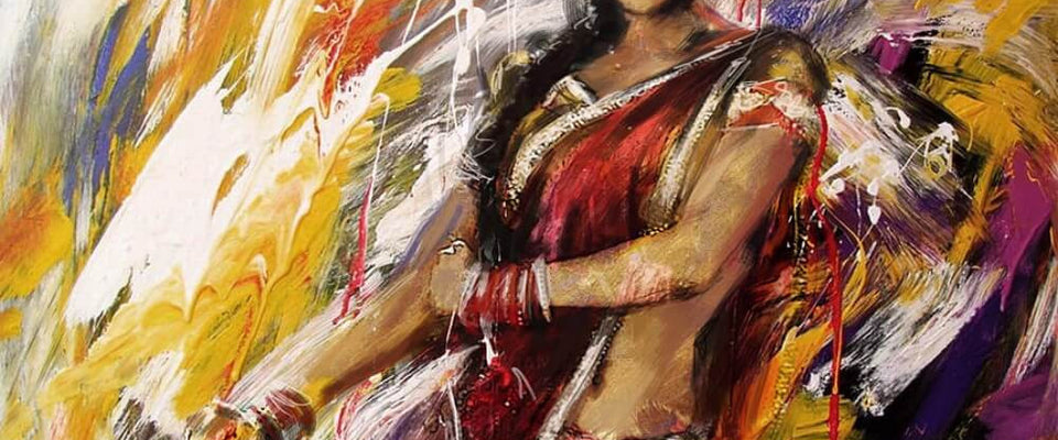 Acrylic Art - Indian Classical Dancer by Hamid Raza | Buy Posters, Frames, Canvas  & Digital Art Prints