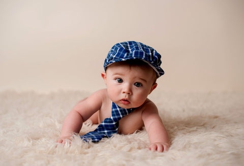 Adorable Baby In Blue Cap And Tie - Life Size Posters