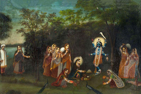Adoration of Krishna-kali By Radha Observed By Her Husband Abhimanyu - Bengal school