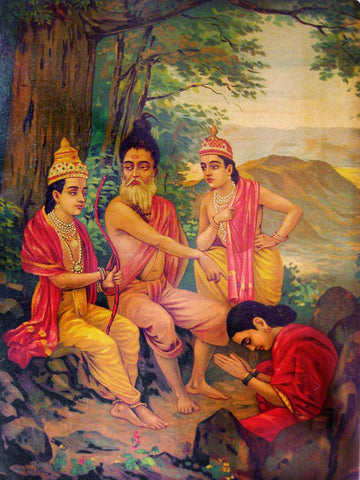 Ahilyaoddhar - Ram Releasing Ahalya From Curse Raja Ravi Varma Press Oleograph Print - Indian Ramayan Art by Raja Ravi Varma