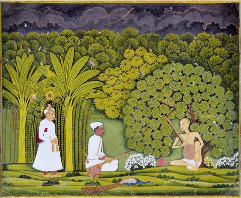 Indian Miniature Paintings - Rajput painting - Akbar And Tansen Visit Haridas