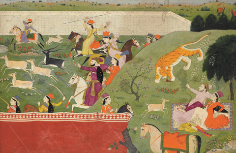 Indian Miniature Art - Rajput Painting - Alauddin And Mahima Hunting