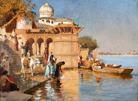 Along the Ghats, Mathura - Canvas Prints