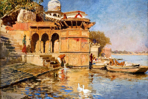 Along the Mathura Ghats - Edwin Lord Weeks - Orientalism Artwork Painting by Edwin Lord Weeks