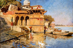 Along the Mathura Ghats - Edwin Lord Weeks - Orientalism Artwork Painting