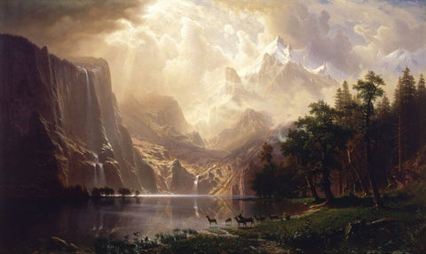 Among the Sierra Nevada California - Albert Bierstadt - Landscape Painting