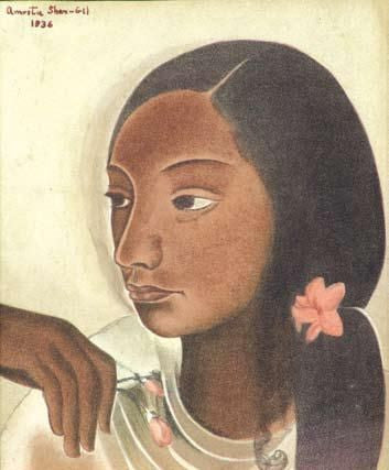 Indian Art - Amrita Sher-Gil - Portrait Of a Young Girl by Amrita Sher-Gil