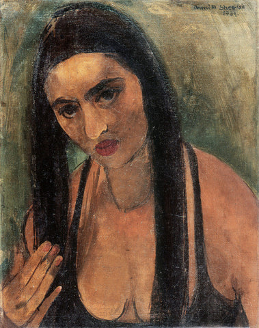 Indian Art - Amrita Sher-Gil - Self Portrait In Long Hair